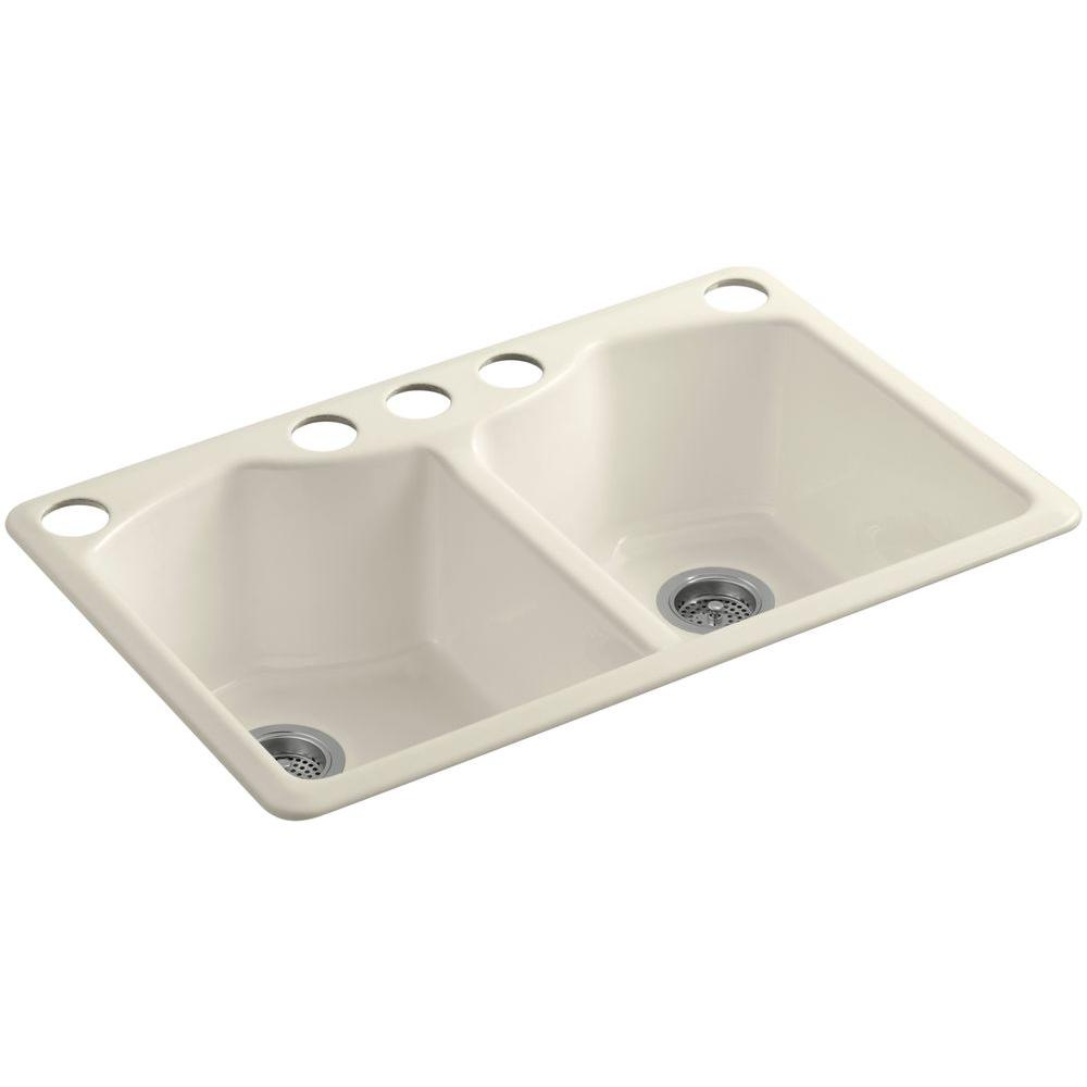 KOHLER Bellegrove Undermount Cast Iron 33 in. 5-Hole Double Bowl Kitchen Sink in Almond