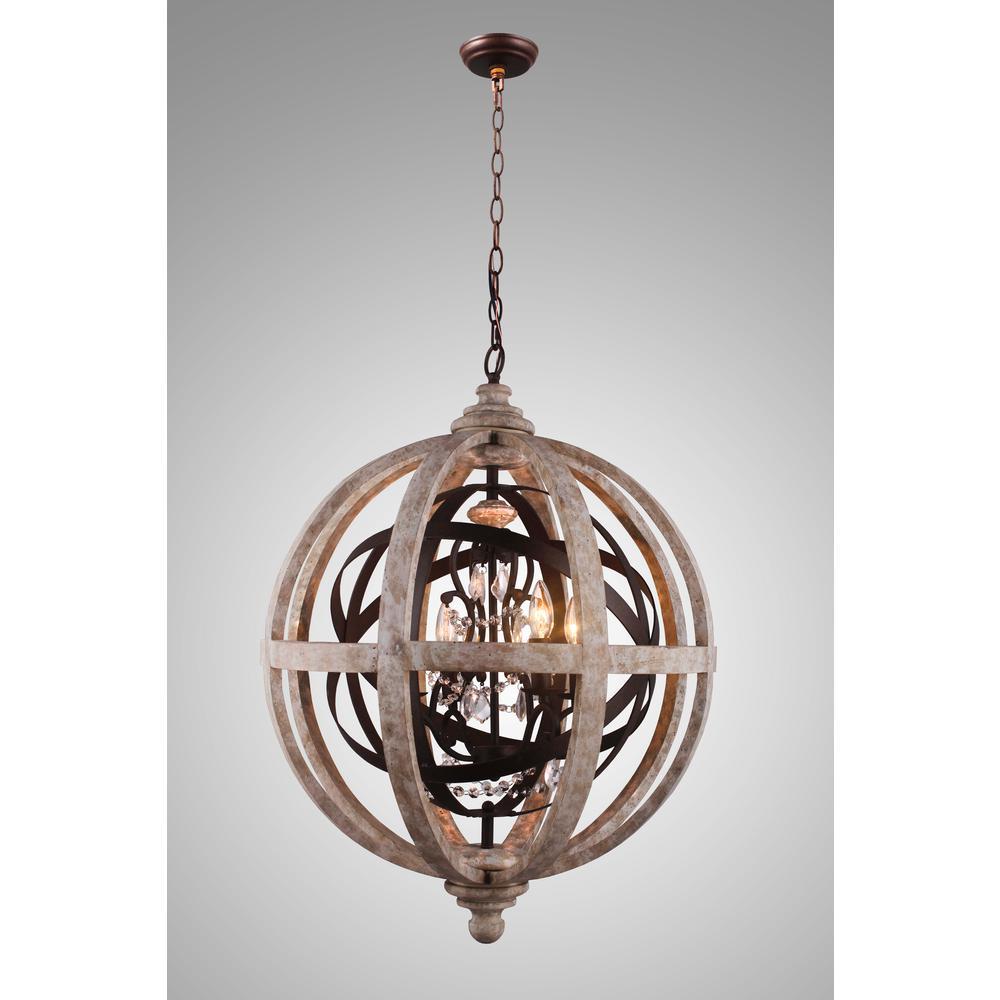 Lorenzo Candle-Style 4-Light Rustic Metal Chandelier