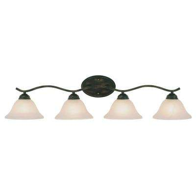 Cabernet Collection 4-Light Oiled Bronze Bath Bar Light with Tea Stained Marbleized Shade