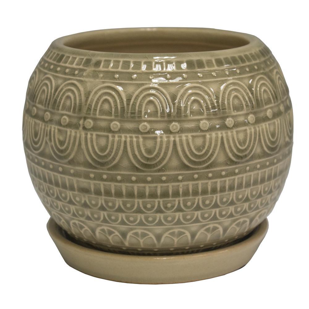 6 in. Greige Seven Seas Globe Ceramic Planter