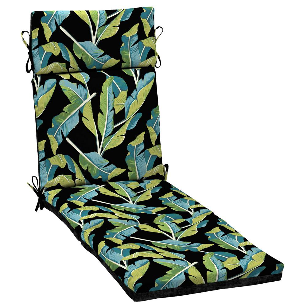 Hampton Bay Banana Leaf Tropical Outdoor Chaise Lounge Cushion