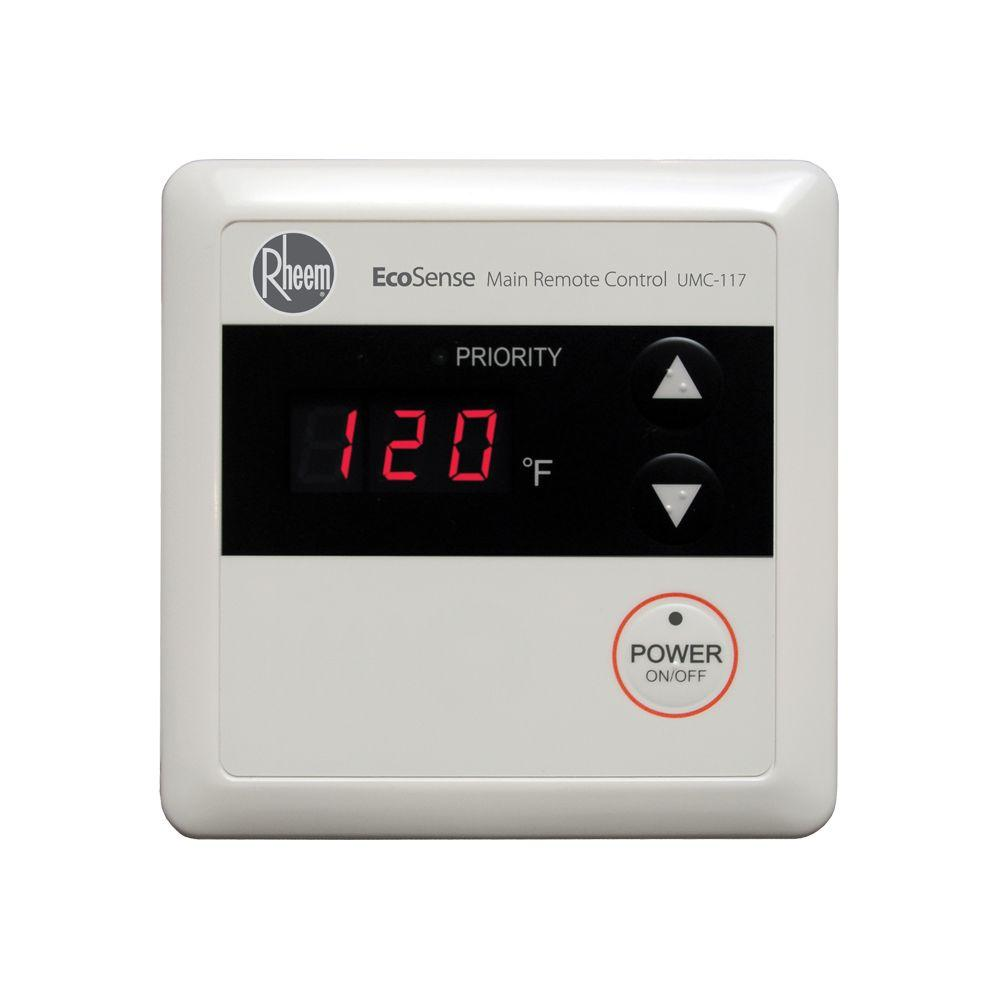 Rheem Commercial Residential Wired Main Remote Control for Tankless Gas Water Heaters UMC-117 main remote control pad. Allows for easy temperature adjustment and maintenance information access. Connect up to 3 remote controls to your tankless system.