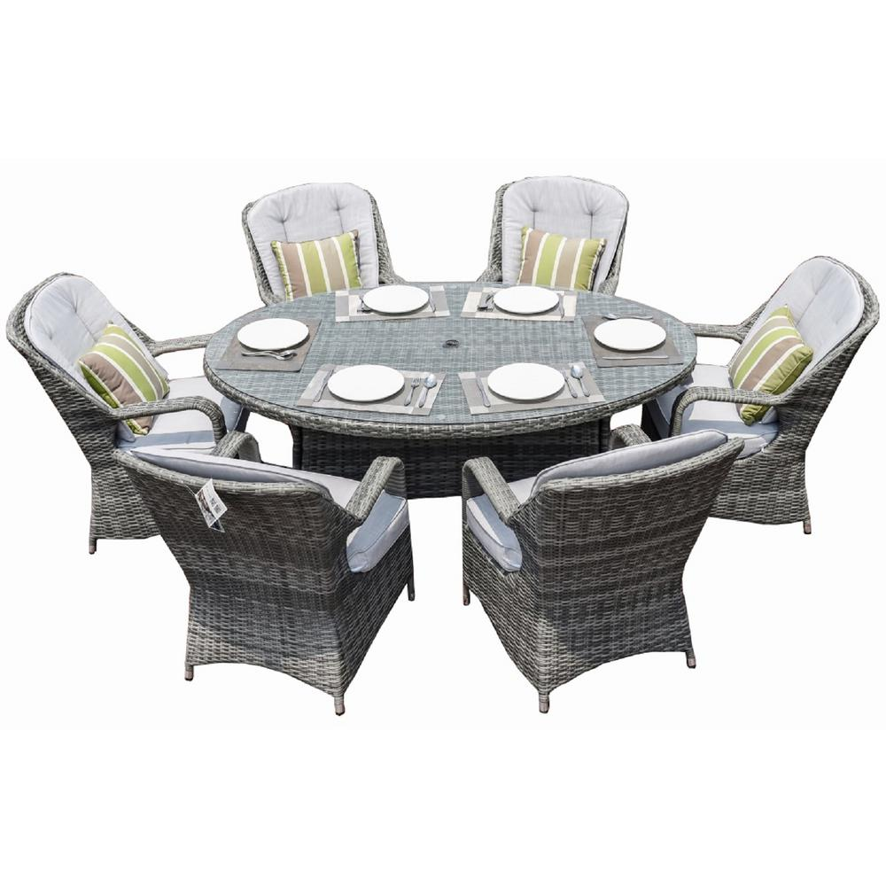 Gray 7 Piece Wicker Outdoor Dining Set