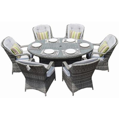Gray 7-Piece Wicker Outdoor Dining Set with Luxury Gray Cushions