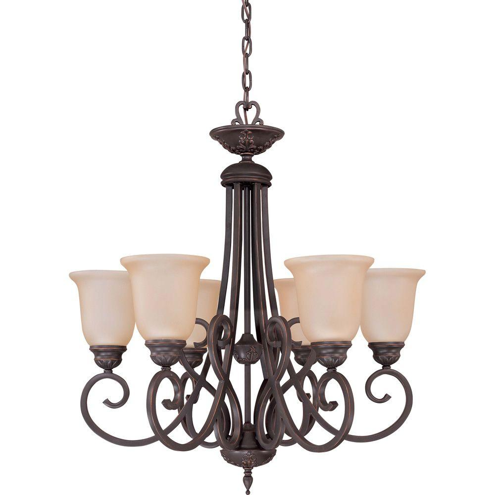Glomar Halsey - 6-Light Chandelier with Vintage Champagne Glass Sudbury Bronze-DISCONTINUED