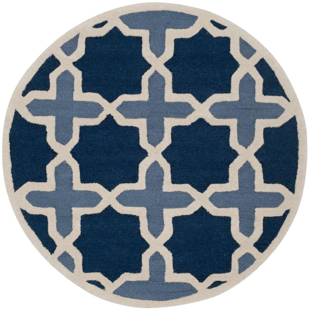 Safavieh Cambridge Blue/Ivory 6 ft. x 6 ft. Round Area Rug