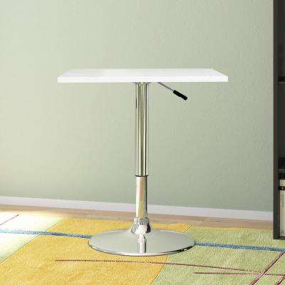 Adjustable Height White Swivel Square Bar Table