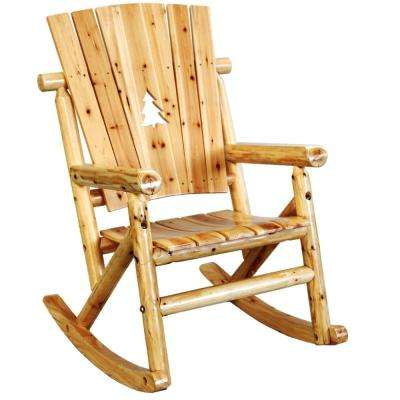 Aspen Wood Patio Rocking Chair With Pine Tree