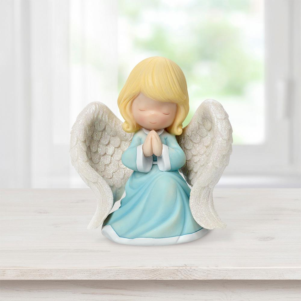 Precious Moments Tabletop Resin Angel Praying With Closed Eyes Music Box, Multi With eyes closed, hands clasped, and wings open - this darling angel is no doubt praying for peace each day and night. Music box plays  All Day, All Night . A reminder to someone special that heaven is always on their side, and that prayers really are answered. Give as a thoughtful gift for any religious occasion, like baptism gifts, Communion gifts, confirmation gifts or simply 'just because.' Crafted of resin and carefully hand painted (does not open). Approximately 6 in. H. Includes 3 AAA Batteries Color: Multi.