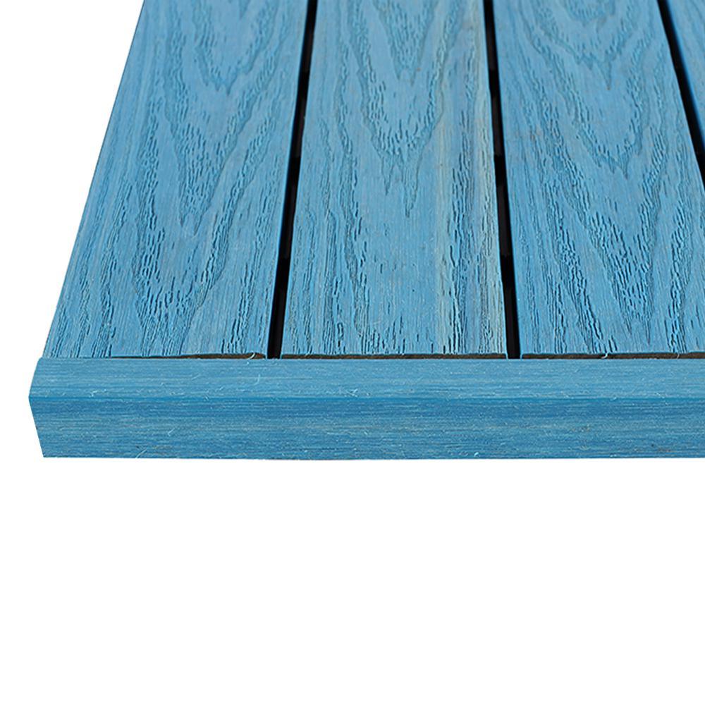 1/6 ft. x 1 ft. Caribbean Blue Quick Deck Composite Deck Tile Straight End Fascia (4-Piece/Box)