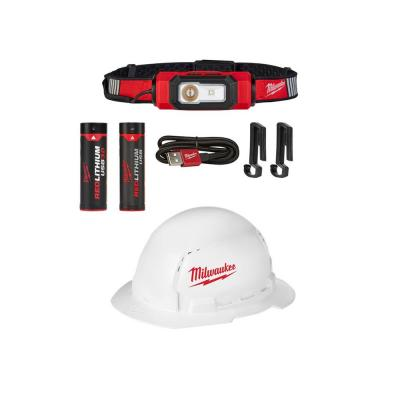 600 Lumens LED USB Rechargeable 360-Degree Hard Hat Headlamp and BOLT Full Brim Hard Hat w/ Bonus USB 3.0 Ah Battery