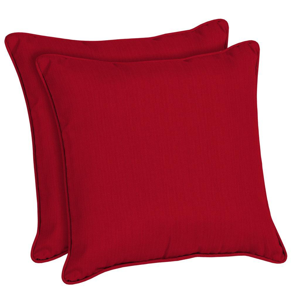 Sunbrella Spectrum Cherry Square Outdoor Throw Pillow (2-Pack)