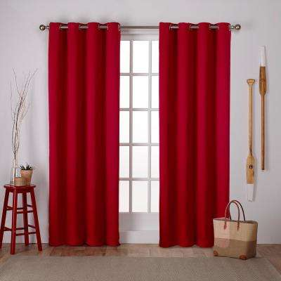 Sateen 52 in. W x 96 in. L Woven Blackout Grommet Top Curtain Panel in Chili (2 Panels)