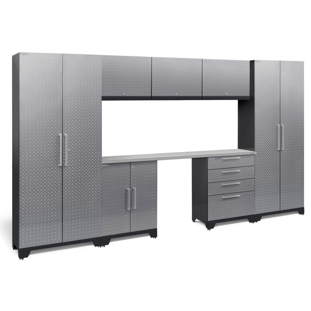 Performance Diamond Plate 2.0 72 in. H x 132 in. W x 18 in. D Garage Cabinet Set in Silver (8-Piece)