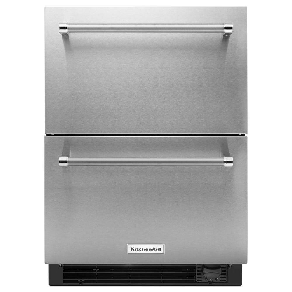 KitchenAid 24 In. W 4.7 Cu. Ft. Double Drawer Refrigerator Freezer In  Stainless