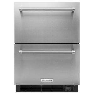 Click here to buy KitchenAid 24 inch W 4.7 cu. ft. Double Drawer Refrigerator Freezer in Stainless Steel, Counter Depth by KitchenAid.