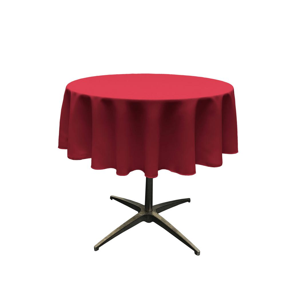 LA Linen 51 in. Round Cranberry Polyester Poplin Tablecloth