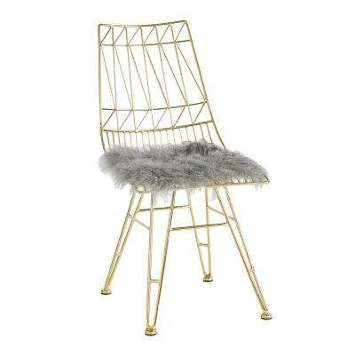 Allure Grey and Gold Sheepskin Seat