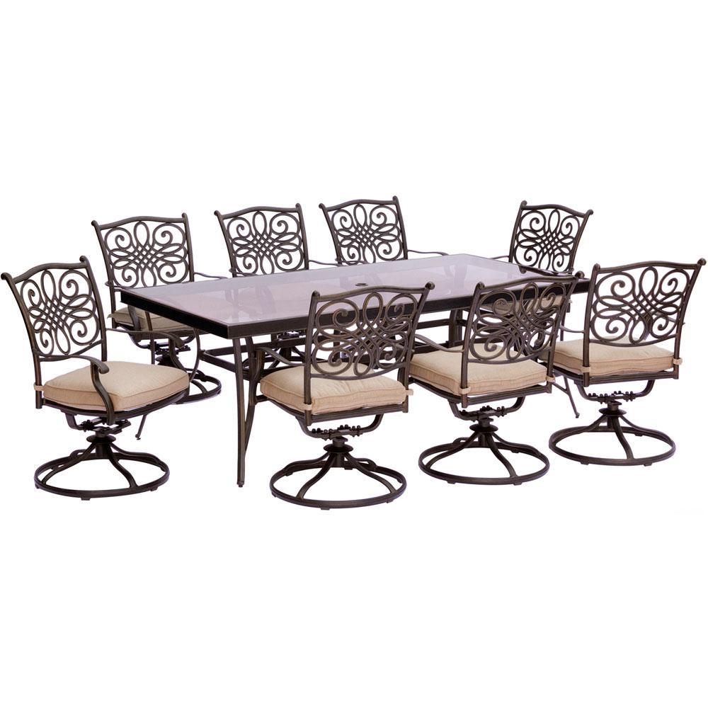 Cambridge Seasons 9 Piece Aluminum Outdoor Dining Set With