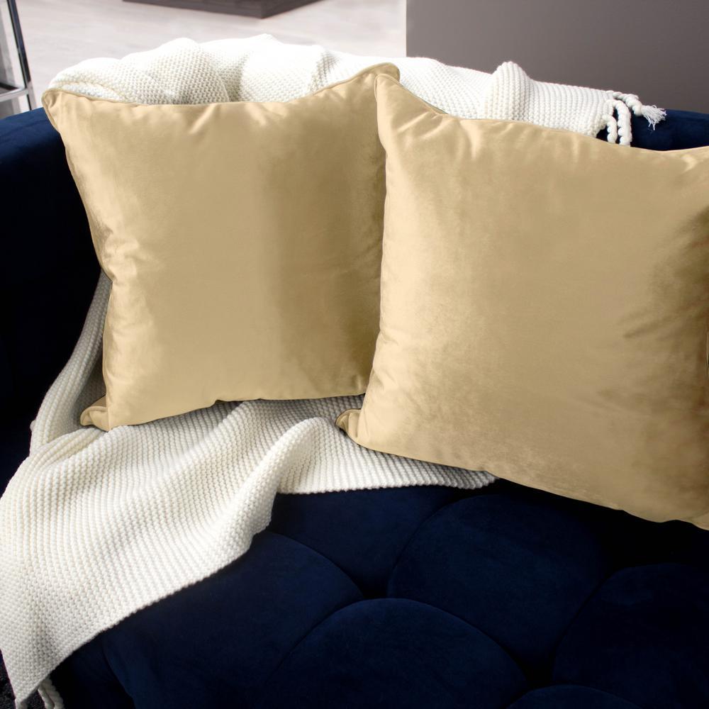 Jean Pierre Lucas Velvet 2-Piece Decorative Pillow Set in Champagne by Jean Pierre