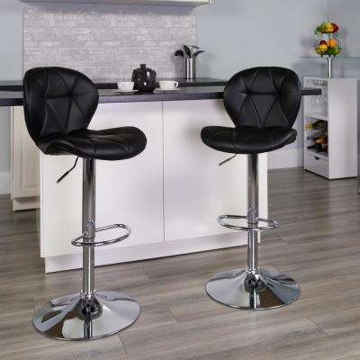 44 in.t Black Vinyl Barstool with Diamond Stitched Back and Chrome Base