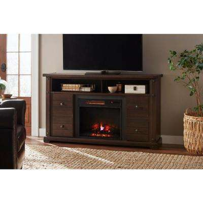 Brannen 60 in. Freestanding Industrial Media Console Electric Fireplace TV Stand in Midnight Cherry