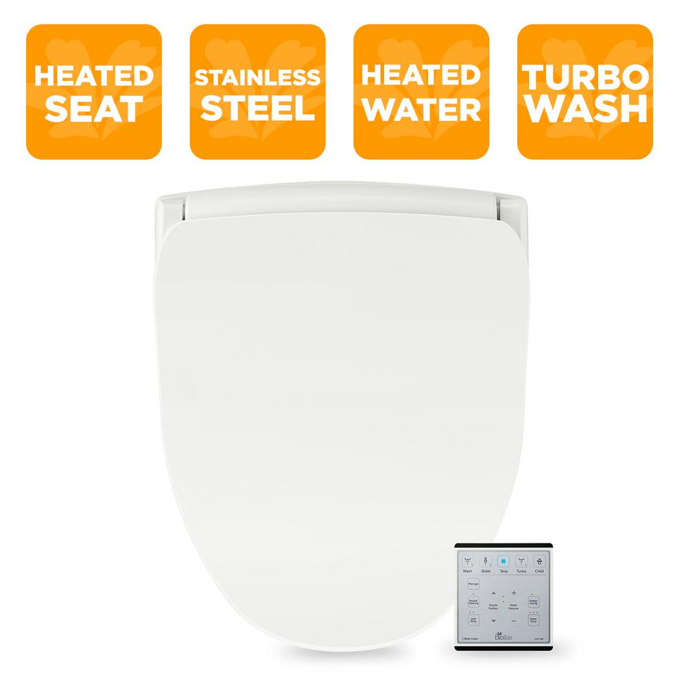 and Fusion Warm Water Oscillating Turbo Wash Bio Bidet Slim ONE Smart Toilet Seat in Elongated White with Stainless Steel Self-Cleaning Nozzle Nightlight