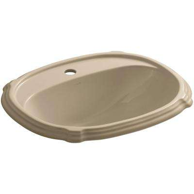 Portrait Drop-In Vitreous China Bathroom Sink in Mexican Sand with Overflow Drain