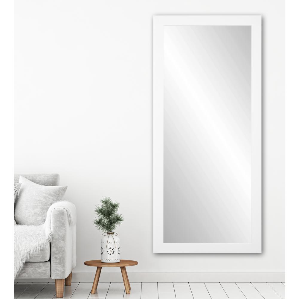 Premium 32 in. W x 71 in. H Framed Rectangular Bathroom Vanity Mirror in Matte White