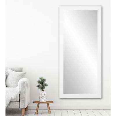 Premium 32 in. x 71 in. Framed Single Wall Mirror in Matte White