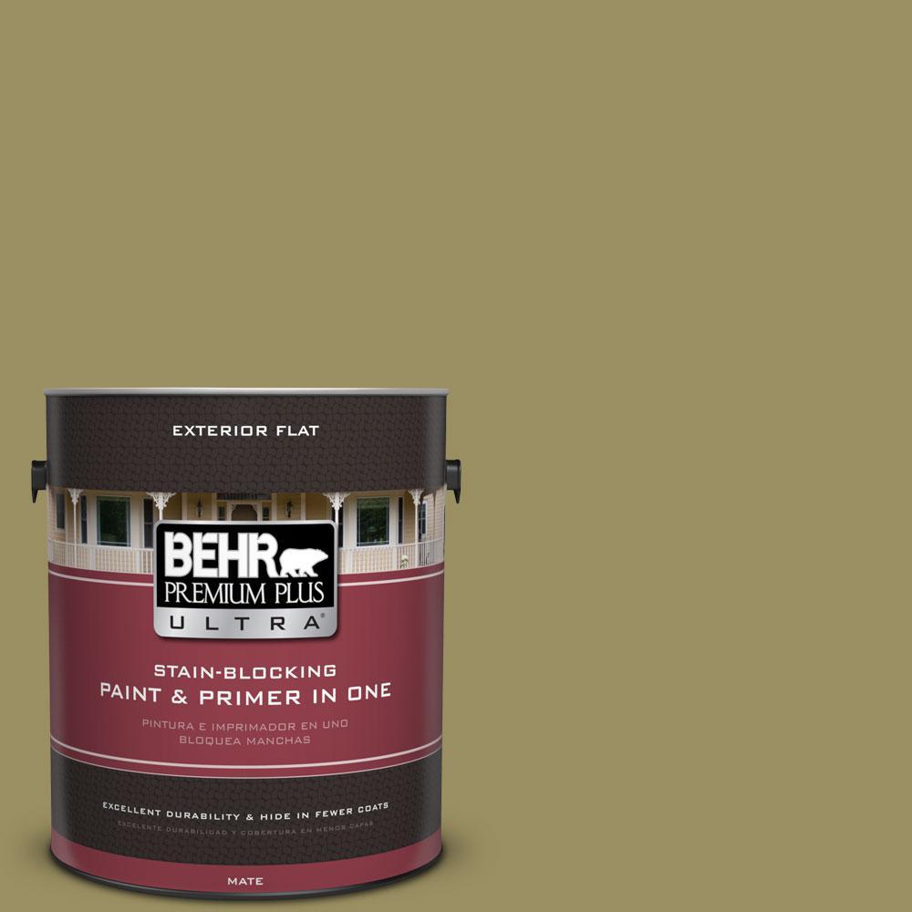 BEHR Premium Plus Ultra 1-gal. #390F-6 Tate Olive Flat Exterior Paint
