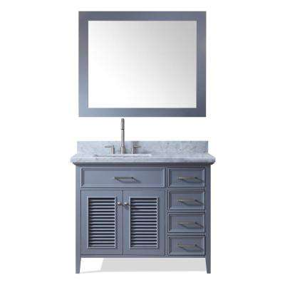 Kensington 43 in. Bath Vanity in Grey with Marble Vanity Top in Carrara White with White Basin and Mirror