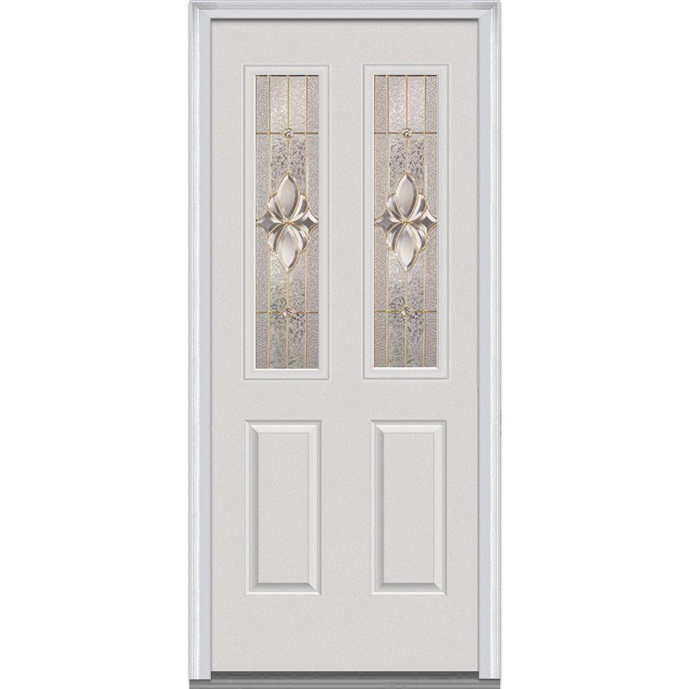 Mmi Door 30 In X 80 In Heirloom Master Right Hand 2 1 2 Lite 2 Panel Classic Primed Fiberglass