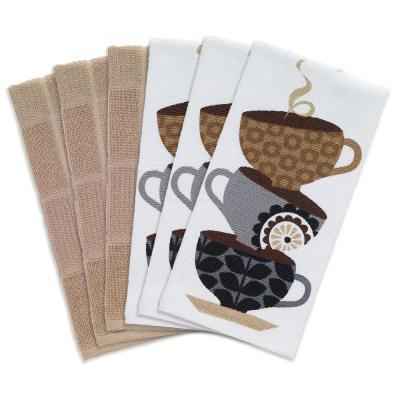 T-fal Multicolor Coffee Cups Cotton Print Dual and Solid Kitchen Dish Towel (Set of 6)