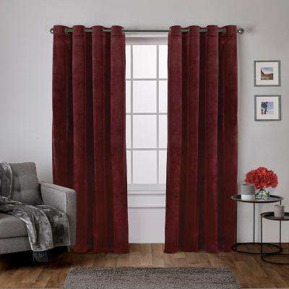 Velvet 54 in. W x 84 in. L Velvet Grommet Top Curtain Panel in Burgundy (2 Panels)