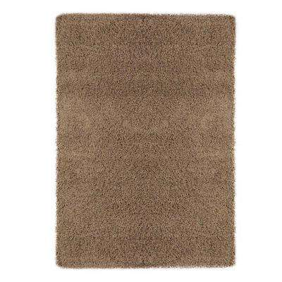 Shag Collection Beige 8 ft. x 10 ft. Area Rug