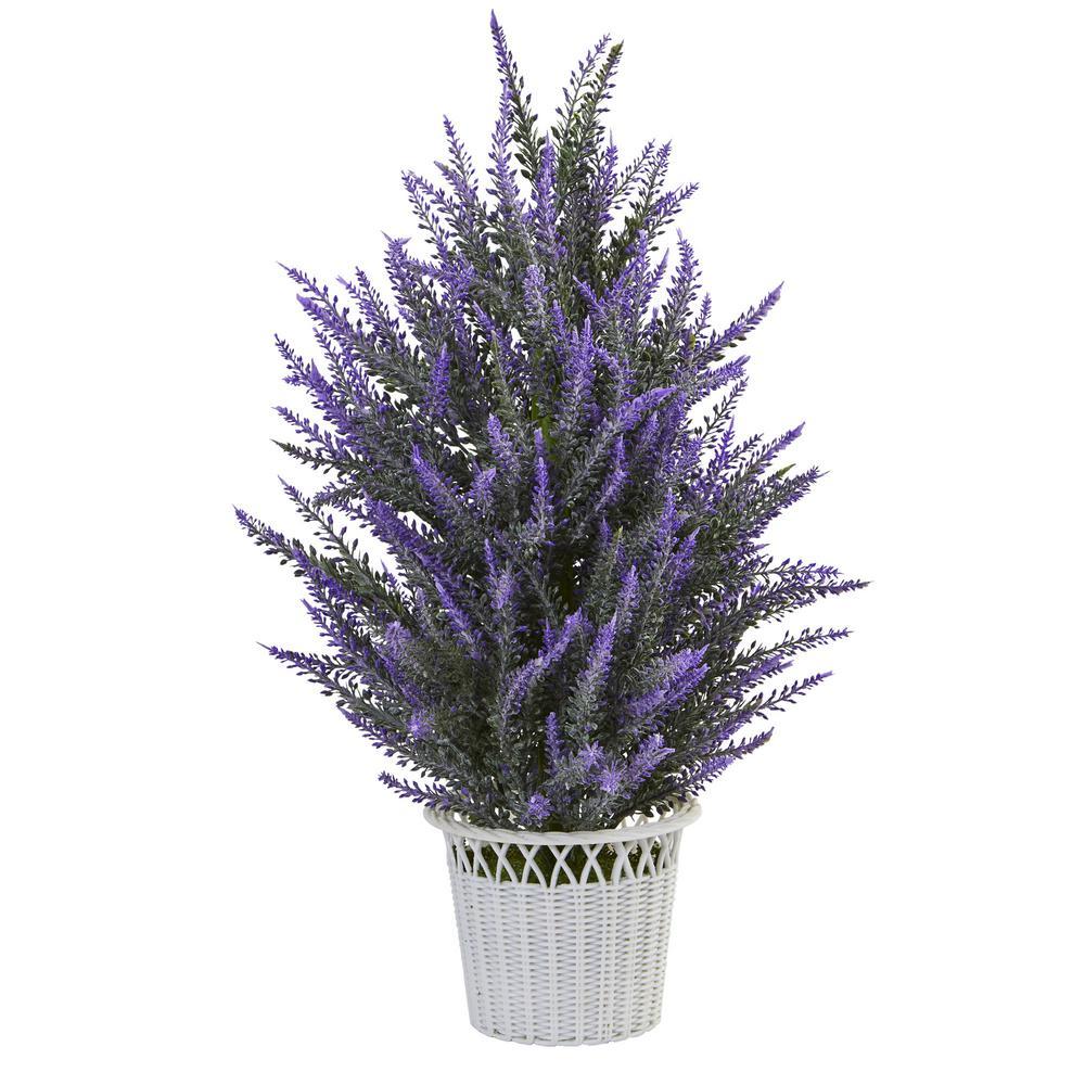 Lavender Artificial Plant in White Planter