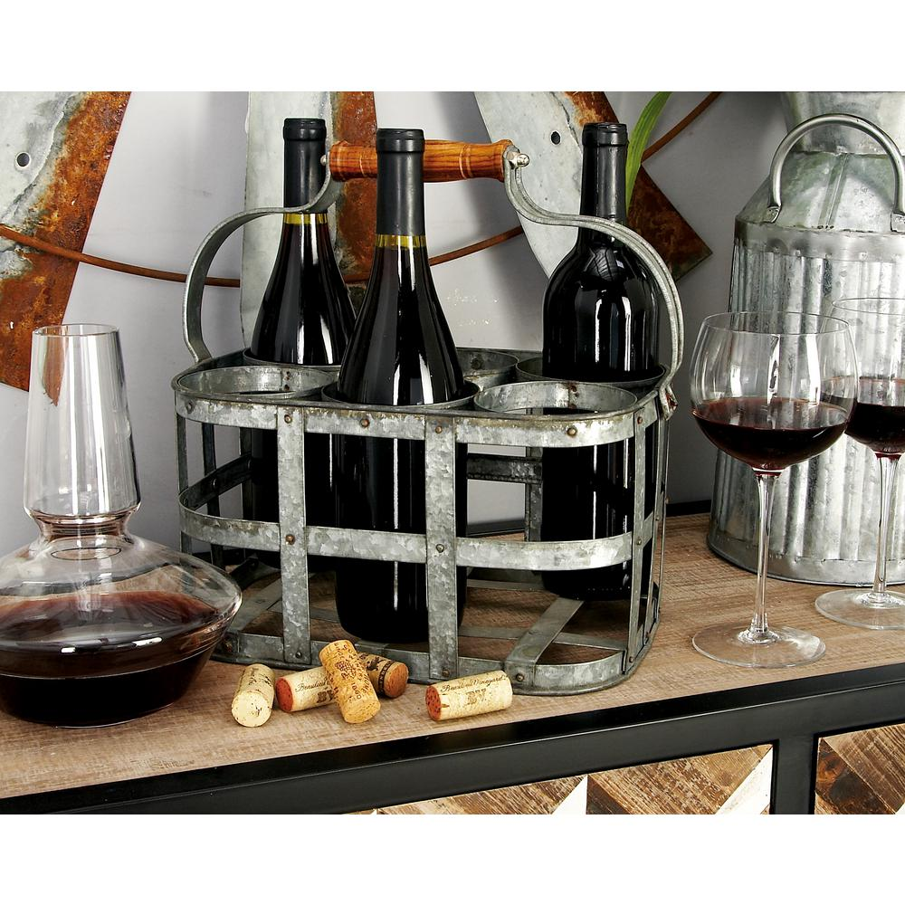 13 in. x 7 in. 6-Bottle Wine Holder with Handle in Hammered Iron Gray