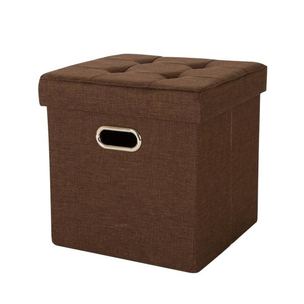 Glitzhome 15 in. H Brown Cube Linen Foldable Storage Ottoman with