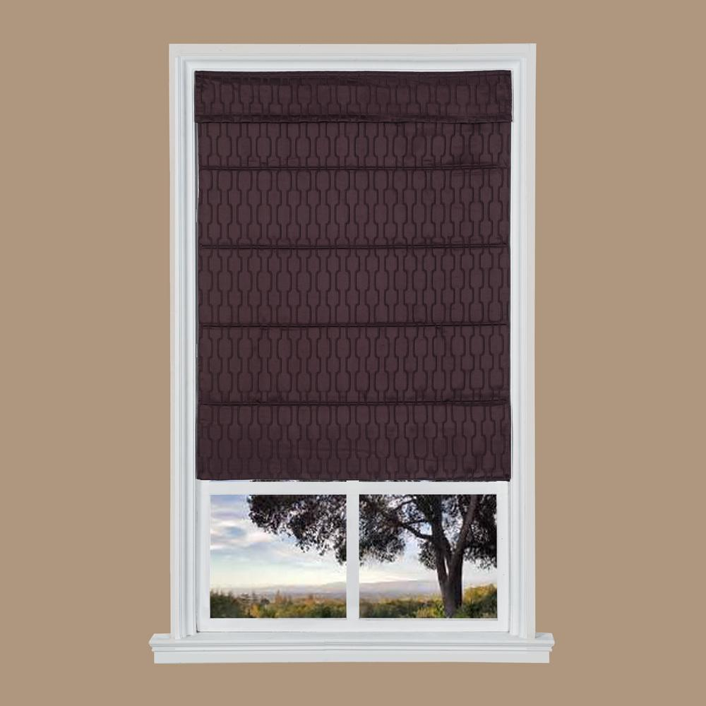 Dark Plum Jacquard Cordless Fabric Roman Shades - 27 in. W