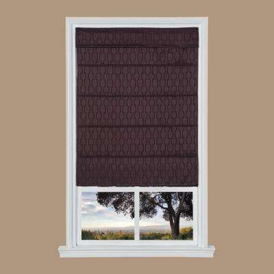 Dark Plum Jacquard Cordless Fabric Roman Shades - 39 in. W x 64 in. L