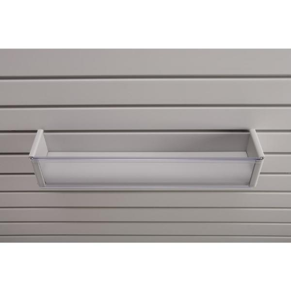 Plastic 4 in. x 20 in. Slat Wall Basket in Light Gray