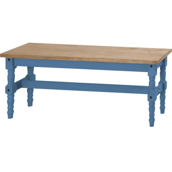 Manhattan Comfort Jay 47.25 in. Blue Wash Solid Wood Dining Bench