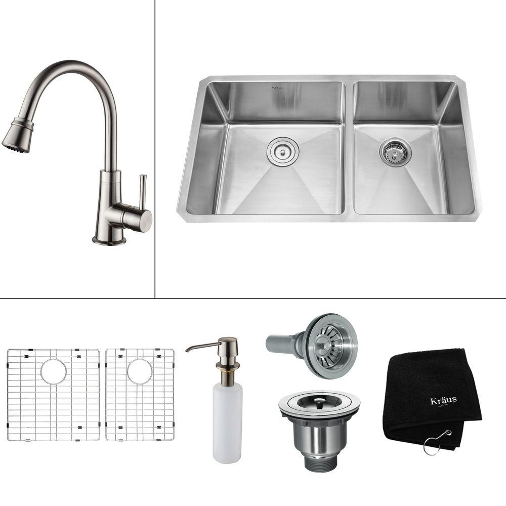KRAUS All-in-One Undermount Stainless Steel 32.75x19x14 in. 0-Hole Double Bowl Kitchen Sink with Satin Nickel Accessories