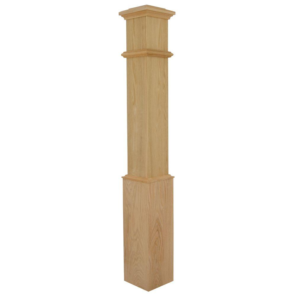 Stair Parts 56 in. x 7-1/2 in. Red Oak Plain Box Newel Post