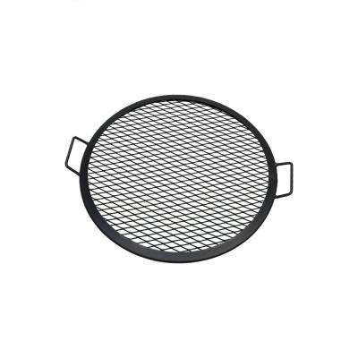 22 in. X-Marks Round Black Steel Fire Pit Cooking Grill Grate