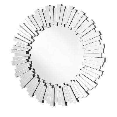 Emory 39.5 in. Contemporary Round Mirror with Clear MDF Frame, Round Shape, Mounting Type: D Ring