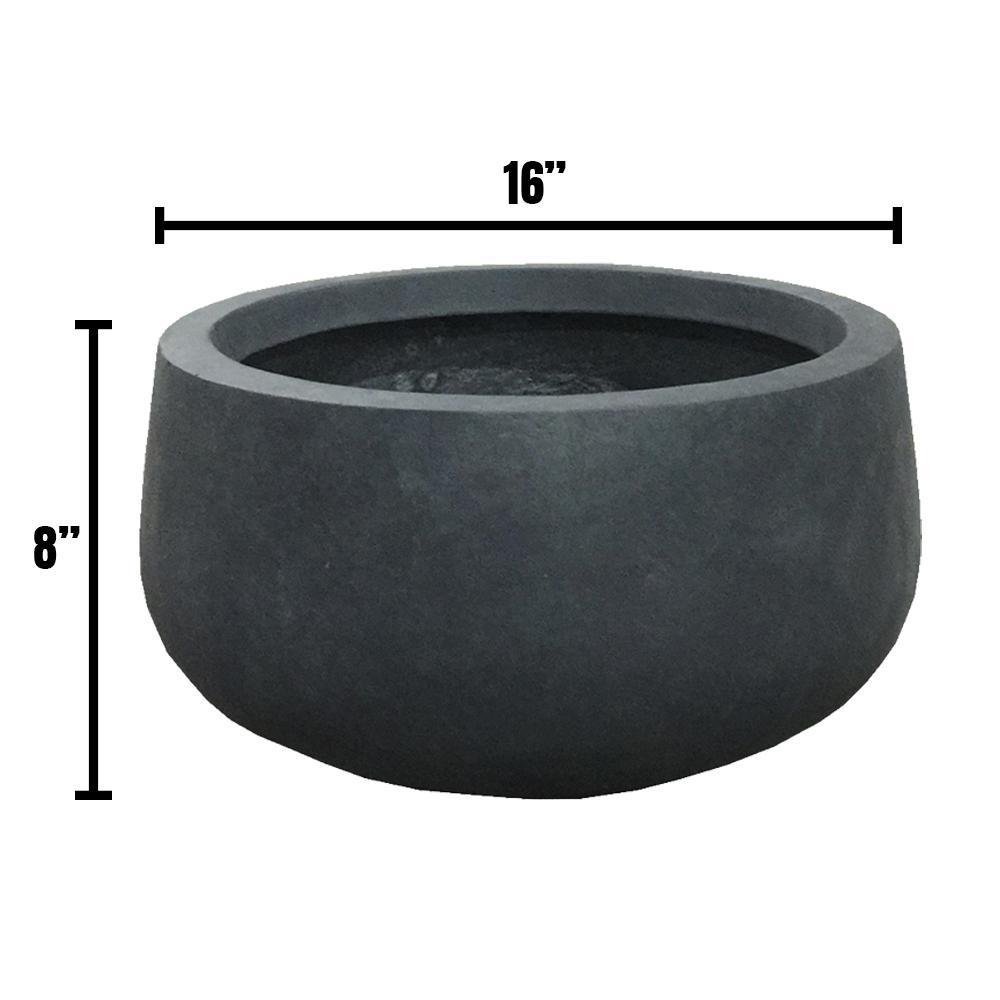 DurX-litecrete Medium 15.7 in. x 15.7 in. x 7.9 in. Granite Color Lightweight Concrete Modern Low Bowl Planter
