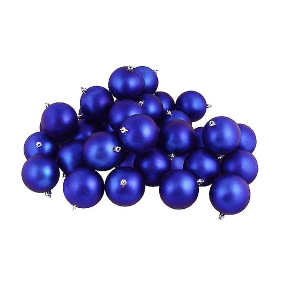 Matte Lavish Blue Shatterproof Christmas Ball Ornaments (60-Count)