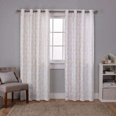 Watford 52 in. W x 96 in. L Woven Blackout Grommet Top Curtain Panel in Winter White, Gold (2 Panels)